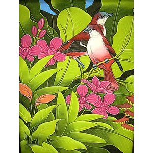 アジアン雑貨 バリ雑貨 バリ アート絵画 M 縦 森の小鳥達  赤背  黄緑葉|angkasa