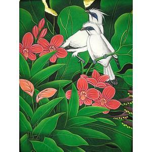 アジアン雑貨 バリ雑貨 バリ アート絵画 M 縦 森の小鳥達 白 赤花|angkasa