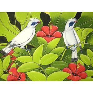 アジアン雑貨 バリ雑貨 バリアート絵画 M 横 森の小鳥達 白 赤花|angkasa