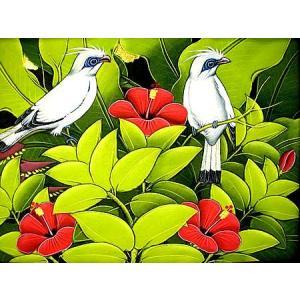 アジアン雑貨 バリ雑貨 バリアート絵画 M 横 森の小鳥達 白赤花|angkasa