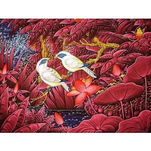 アジアン雑貨 バリ雑貨 バリ絵画 Lサイズ 横 水辺の小鳥達 ピンク 白 angkasa