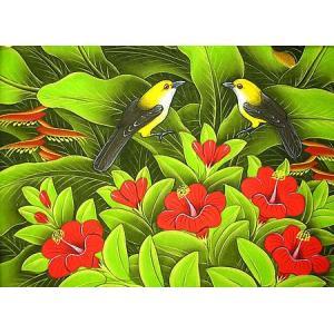 アジアン雑貨 バリ雑貨 バリアート絵画 M 横 森の小鳥達 グレー赤花|angkasa