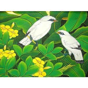 アジアン雑貨 バリ雑貨 バリアート絵画 M 横 森の小鳥達 白黄花|angkasa