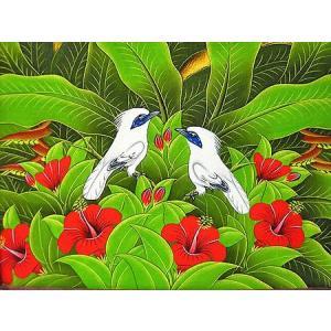 アジアン雑貨 バリ雑貨 バリアート絵画 M 横 『森の小鳥達 白 赤花』|angkasa