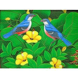 アジアン雑貨 バリ雑貨 バリアート絵画 M 横 『森の小鳥達 青 黄花』|angkasa