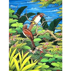 アジアン雑貨 バリ雑貨 バリ絵画 L 縦 森の小鳥達  茶 angkasa