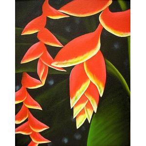 アジアン雑貨 バリ雑貨 バリ絵画 L縦 バナナの花 C|angkasa
