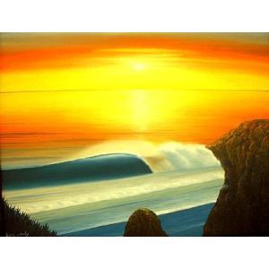 アジアン雑貨 バリ雑貨 バリ絵画 L横 Seaside in Sunset angkasa