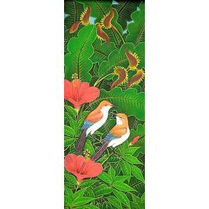 アジアン雑貨 バリ雑貨 バリアート絵画LM縦『森の小鳥達オレンジ赤花』|angkasa