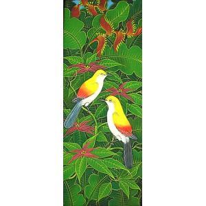 アジアン雑貨 バリ雑貨 バリアート絵画LM縦『森の小鳥達黄背赤花』|angkasa