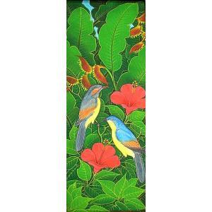 アジアン雑貨 バリ雑貨 バリアート絵画LM縦『森の小鳥達青背赤花』|angkasa