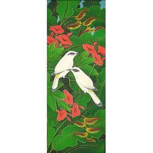 アジアン雑貨 バリ雑貨 バリアート絵画 LM 縦 森の小鳥達 白 赤花 |angkasa