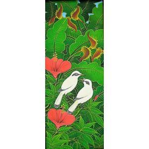 アジアン雑貨 バリ雑貨 バリアート絵画 LM 縦 森の小鳥達 白 赤花|angkasa