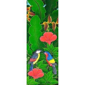 アジアン雑貨 バリ雑貨 バリアート絵画 LM 縦 森の小鳥達 グレー・赤花|angkasa