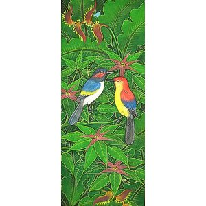 アジアン雑貨 バリ雑貨 バリアート絵画LM縦『森の小鳥達紺背赤花』|angkasa