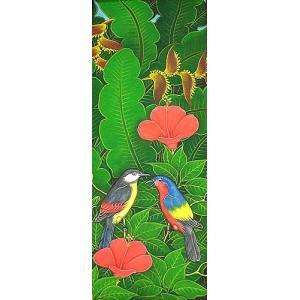 アジアン雑貨 バリ雑貨 バリ アート絵画 LM 縦 森の小鳥達 レインボー 赤花|angkasa