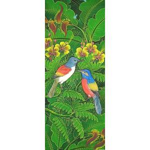 アジアン雑貨 バリ雑貨 バリアート絵画LM縦『森の小鳥達レインボー黄花』|angkasa
