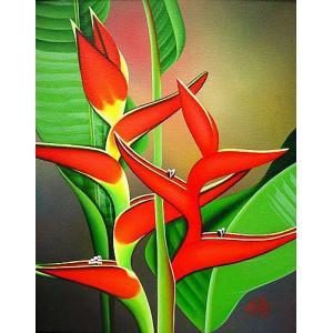 アジアン雑貨 バリ雑貨 バリ アート絵画 L 縦 熱帯の花 ストレリチア |angkasa