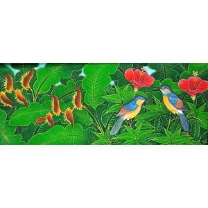 アジアン雑貨 バリ雑貨 バリ アート絵画 LM 横 森の小鳥達 グレー・赤花|angkasa