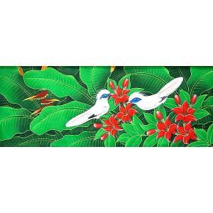 アジアン雑貨 バリ雑貨 バリ アート絵画 LM 横 森の小鳥達 白・赤花|angkasa