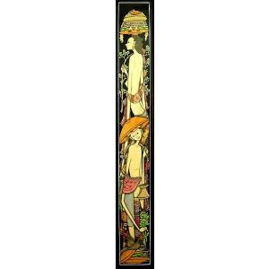 【30%OFF】 アジアン雑貨 バリ雑貨 バリアート絵画 ロングサイズ 足長バリ人 C 縦約84cmx横23.5cm angkasa