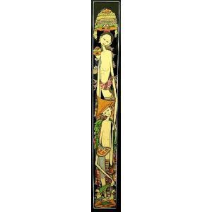 【30%OFF】 アジアン雑貨 バリ雑貨 バリアート絵画 ロングサイズ  足長バリ人 E 縦約84cmx横23.5cm angkasa