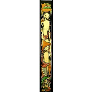 【30%OFF】 アジアン雑貨 バリ雑貨 バリアート絵画 ロングサイズ 足長バリ人G 縦約84cmx横23.5cm angkasa