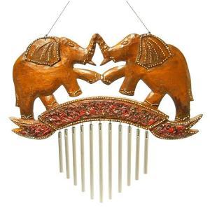 ドアチャイム 風鈴 ウィンドーチャイム 木製 象 レッド スチールパイプ 音色 楽器 インテリア アジアン バリ タイ ゾウ 雑貨|angkasa