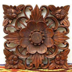 壁掛け木彫りのレリーフ 〔お花〕アンティーク調 25cm アジアン雑貨 バリ タイ エスニック 壁 装飾  angkasa