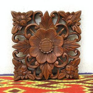 壁掛け木彫りのレリーフ 〔お花〕アンティーク調 20cm アジアン雑貨 バリ タイ エスニック 壁 装飾  angkasa