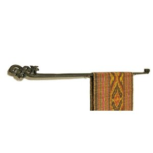 イカットハンガー シングル ブラック 120cm 木彫り アジアン雑貨 バリ雑貨 タイ エスニック おしゃれなハンガー|angkasa
