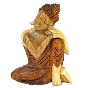 木彫りの仏陀『まどろむ仏陀』A 坐像 ナチュラル [H.33cm]  アジアン雑貨 バリ雑貨 おしゃれな 癒しの置物 仏像コレクション |angkasa