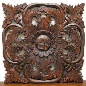 壁掛け 木彫りのレリーフ アンティーク調 LL [縦約38x横38cm] アジアン雑貨 バリ タイ エスニック 壁 装飾  angkasa