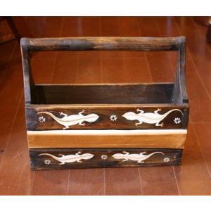 アジアン雑貨 バリ雑貨 トカゲ柄のマガジンラック Sサイズ 横幅約32cm|angkasa