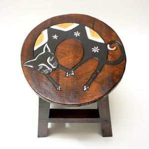 アジアン雑貨 木製スツール ネコさんチェアーイス 子どもチェア-ミニスツール フラワースタンド angkasa