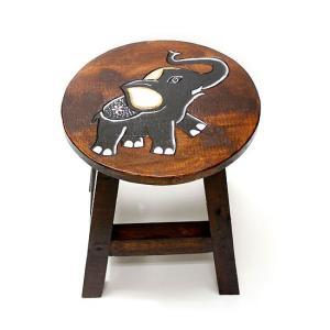 アジアン雑貨 木製スツール 象さんチェアーイス 子どもチェア-ミニスツール フラワースタンド angkasa