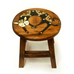 アジアン雑貨 木製スツール ネコさんB チェアーイス 子どもチェア-ミニスツール フラワースタンド angkasa