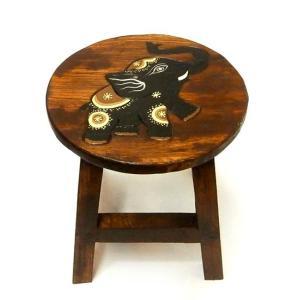 アジアン雑貨 木製スツール 象さんB チェアーイス 子どもチェア-ミニスツール フラワースタンド angkasa