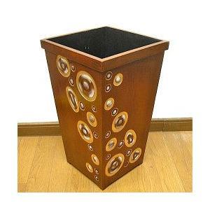 アジアン雑貨 バリ雑貨 木彫り★アートな傘たて インテリア収納ボックス 茶 リング模様 ゴミ箱 傘立て|angkasa
