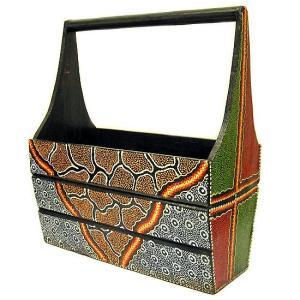アジアン雑貨 バリ雑貨 ドットペイントアートの マガジンラック B Lサイズ [横幅約43cm]|angkasa