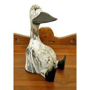 木彫りのアヒル 白鳥 Mサイズ [H.20cm] アジアン雑貨 バリ雑貨 タイ雑貨 エスニック おしゃれな かわいい置物 卓上|angkasa