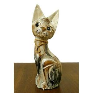 アンティーク調 木彫りのバリネコSサイズ[H.30cm] ネコ 雑貨 アジアン雑貨 バリ雑貨 タイ雑貨 エスニック おしゃれな かわいい置物 卓上|angkasa