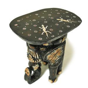 象さんのイス ミニテーブル こげ茶 H.34cm アジアン雑貨 バリ タイ エスニック アニマル 装飾 |angkasa