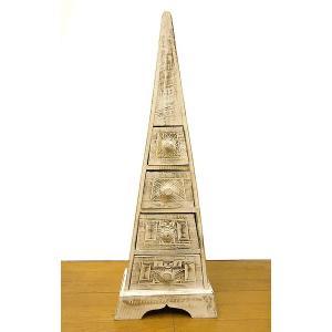 原人の三角タンス たんす 白 収納 H.80cm アジアン雑貨 バリ雑貨 アジアン家具 バリ家具|angkasa