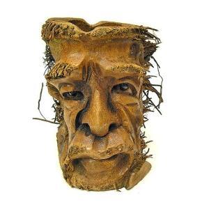 バンブーの根のアートマスク 灰皿 B [H約25cm] アジアン雑貨 バリ雑貨 エスニック 変わった灰皿|angkasa