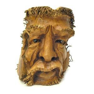 バンブーの根のアートマスク 灰皿 C [H約25cm] アジアン雑貨 バリ雑貨 エスニック 変わった灰皿|angkasa