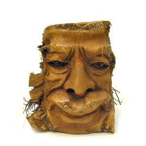 バンブーの根のアートマスク 灰皿 D [H約25cm] アジアン雑貨 バリ雑貨 エスニック 変わった灰皿|angkasa