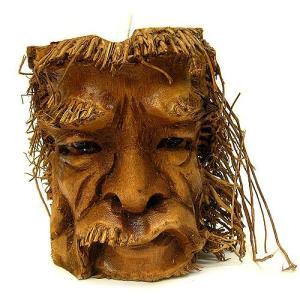 バンブーの根のアートマスク 灰皿 F [H約25cm] アジアン雑貨 バリ雑貨 エスニック 変わった灰皿|angkasa