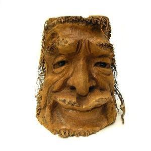バンブーの根のアートマスク 灰皿 G [H約25cm] アジアン雑貨 バリ雑貨 エスニック 変わった灰皿|angkasa