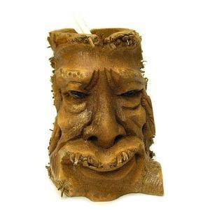 バンブーの根のアートマスク 灰皿 H [H約25cm] アジアン雑貨 バリ雑貨 エスニック 変わった灰皿|angkasa
